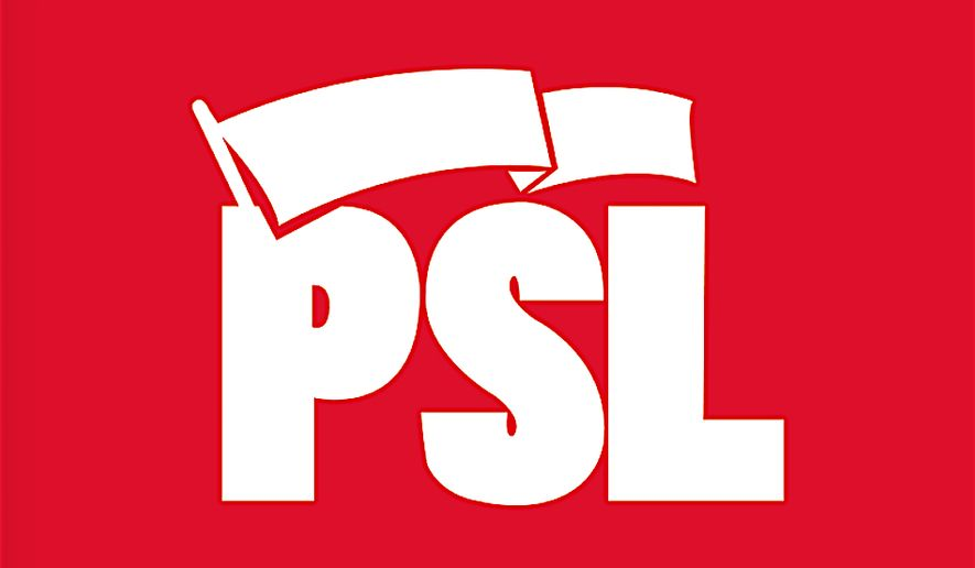The banner of the Party for Socialism and Liberation, which has eight candidates running for office in California. (Image from PSL)