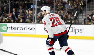 Washington Capitals center Lars Eller celebrates his goal against the Vegas Golden Knights during the first period in Game 2 of the NHL hockey Stanley Cup Finals on Wednesday, May 30, 2018, in Las Vegas. (AP Photo/John Locher)