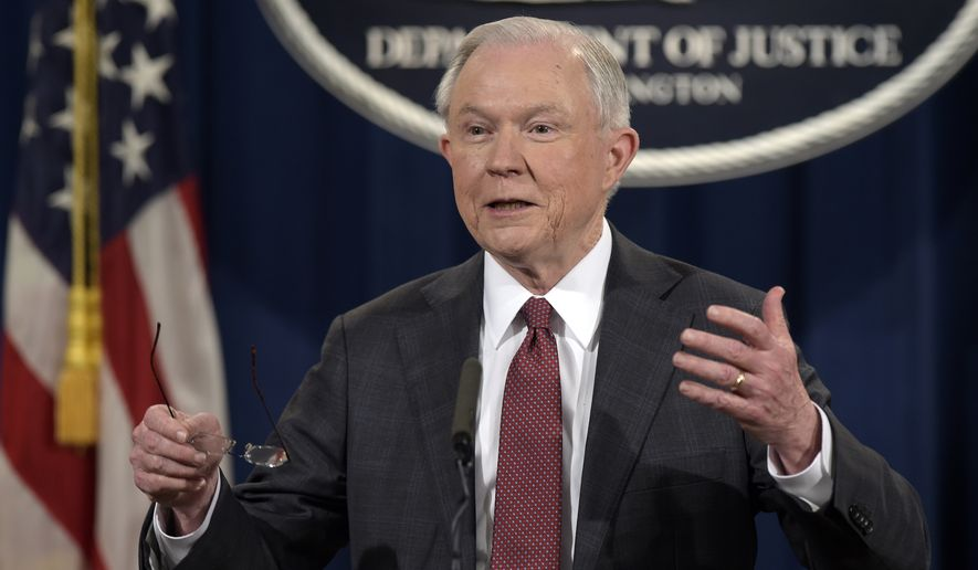 In this March 2, 2017, file photo, Attorney General Jeff Sessions speaks during a news conference at the Justice Department in Washington, where he said he will recuse himself from a federal investigation into Russian interference in the 2016 White House election. (AP Photo/Susan Walsh, File)