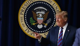 "President Donald Trump arrives for a bill signing ceremony for the ""Right to Try"" act in the South Court Auditorium on the White House campus, Wednesday, May 30, 2018, in Washington. (AP Photo/Evan Vucci)"