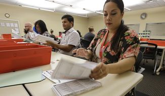 Bianca Savola, an election clerk at the Sacramento County Registrar of Voters, inspect a mail-in ballot, Wednesday, May 30, 2018, in Sacramento, Calif. More than 1.4 million Californians have already voted absentee in the state's primary, which could have the highest ever rate of vote by mail. (AP Photo/Rich Pedroncelli)