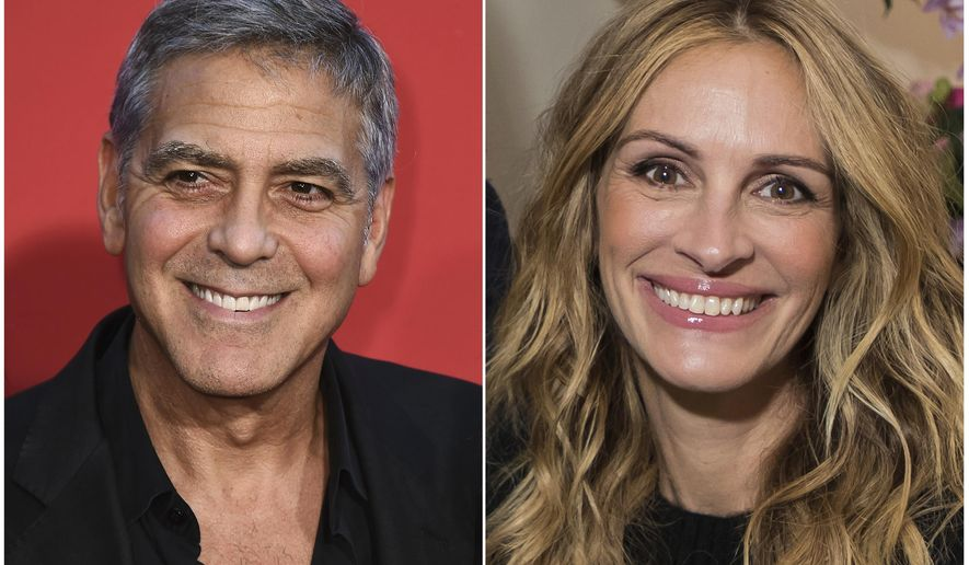 """This combination photo shows George Clooney at the Los Angeles premiere of """"Suburbicon"""" in Los Angeles on Oct. 22, 2017, left, and Julia Roberts in London to promote her film """"Wonder"""" on Nov. 5, 2017. Roberts will present Clooney, her longtime friend and frequent co-star, with the AFI Life Achievement Award at a gala to be held at the Dolby Theatre on June 7. (AP Photo)"""