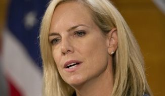 U.S. Department of Homeland Security Secretary Kirstjen Nielsen speaks during a news conference at the National Hurricane Center, Wednesday, May 30, 2018, in Miami. (AP Photo/Wilfredo Lee) ** FILE **