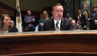Sen. Andy Manar, D-Bunker Hill, explains the Illinois state budget agreement in a Senate Appropriations Committee in Wednesday, May 30, 2018, in Springfield, Ill. (AP Photo/John O'Connor)