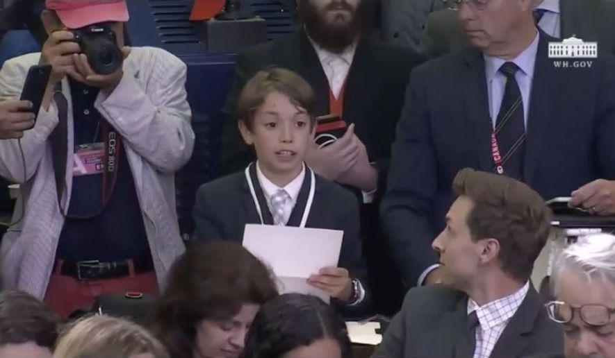 Benje Choucroun, a student at Marin Country Day School in California who was invited to the White House as a reporter for Time for Kids magazine, is shown asking his question to White House press secretary Sarah Huckabee Sanders on May 30, 2018, in this YouTube screen capture.