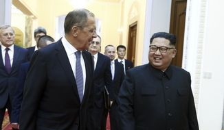 Korean leader Kim Jong-un, right, and Russia's Foreign Minister Sergei Lavrov walk, during a meeting in Pyongyang, North Korea, Thursday, May 31, 2018. Lavrov's visit to North Korea comes ahead of a planned summit between President Donald Trump and North Korean leader Kim Jong-un and is seen as an attempt by Moscow to ensure its voice is heard in the North's diplomatic overtures with Washington, Seoul and Beijing. (Valery Sharifulin/TASS News Agency Pool Photo via AP)