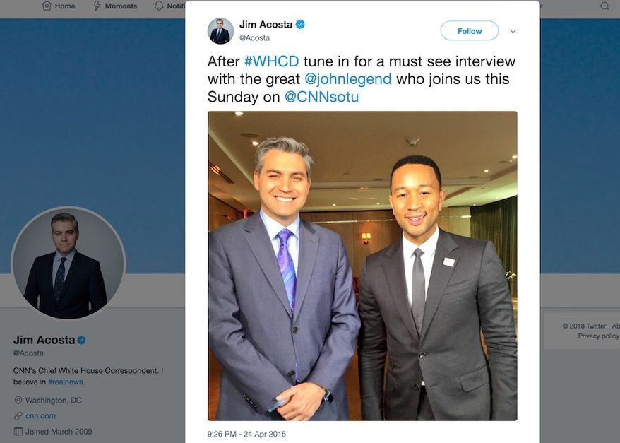 CNN's Jim Acosta poses for a picture with singer John Legend in April 2015. The two men spoke on efforts to influence the Obama administration on prison reform. (Image: Jim Acosta, Twitter screenshot) ** FILE **