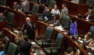 State Rep. Greg Harris, D-Chicago, answers questions from State Rep. Sue Scherer, D-Decatur, during debate on the state budget bills on the floor of the Illinois House during the last scheduled day of the spring session at the state Capitol, Thursday, May 31, 2018, in Springfield, Ill. (Justin L. Fowler/The State Journal-Register via AP)