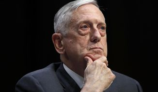 FILE - In this April 26, 2018, file photo, Defense Secretary Jim Mattis listens to a question during a hearing on Capitol Hill in Washington. (AP Photo/Jacquelyn Martin, File)