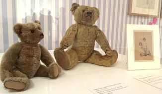"This May 29, 2018 photo shows stuffed bears like those owned by the sons of A.A. Milne and E.H. Shepard, the author and illustrator of the Winnie-the-Pooh books. Atlanta's High Museum of Art is hosting an exhibition called ""Winnie-the-Pooh: Exploring a Classic"" from June 3 to Sept. 2, 2018. (AP Photo/Kate Brumback)"