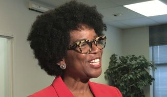 In this May 17, 2018, file photo, Valerie Ervin announces her bid to run for governor at the Maryland State Board of Elections in Annapolis, Md. (Pamela Wood /The Baltimore Sun via AP, File)