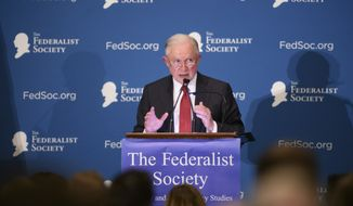 U.S. Attorney General Jeff Sessions delivers remarks as the keynote speaker at the Michigan Chapter of the Federalist Society's Annual Dinner & Grano Award Presentation at the Inn at St. John's, in Plymouth, Mich., Thursday, May 31, 2018. (David Guralnick/Detroit News via AP)