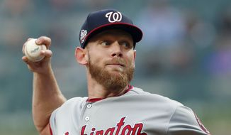 Washington Nationals starting pitcher Stephen Strasburg (37) works against the Atlanta Braves in the first inning of a baseball game Friday, June 1, 2018, in Atlanta. (AP Photo/John Bazemore) **FILE**