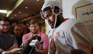 Washington Capitals right wing Devante Smith-Pelly, answers questions for members of the media following practice in Arlington, Va., Friday, June 1, 2018. Game 3 of the Stanley Cup NHL hockey finals between the Vegas Golden Knights and Capitals is scheduled for Saturday. (AP Photo/Pablo Martinez Monsivais)