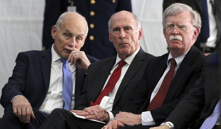 National Security Adviser John R. Bolton (right), with White House Chief of Staff John F. Kelly (left) and Director of National Intelligence Dan Coats, named Fred Fleitz to be National Security Council chief of staff, in the face of strident criticism from what conservatives say are left-wing, pro-Obama pressure groups. (Associated Press/File)