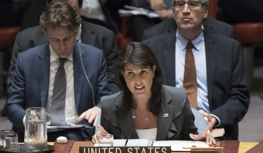 U.S. Ambassador to the United Nations Nikki Haley speaks during a Security Council meeting on the situation between the Israelis and the Palestinians, Friday, June 1, 2018, at United Nations headquarters. (AP Photo/Mary Altaffer) ** FILE **