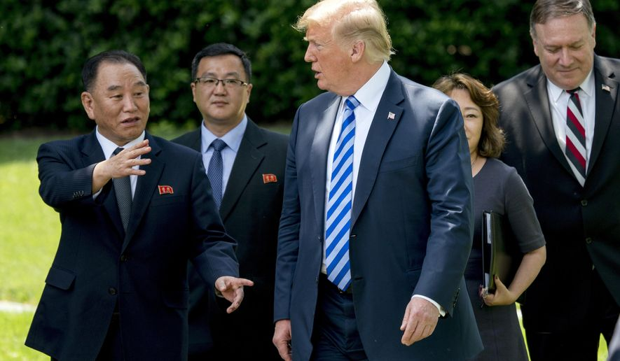 From left, former North Korean military intelligence chief Kim Yong Chol, left, President Donald Trump, and Secretary of State Mike Pompeo, right, walk from the Oval Office, Friday, June 1, 2018, in Washington. (AP Photo/Andrew Harnik)
