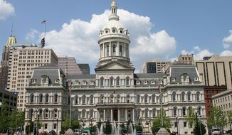 Baltimore City Hall is shown in this public domain photo via Wikimedia Commons. [https://commons.wikimedia.org/wiki/File:1city_hall_baltimore.jpg]