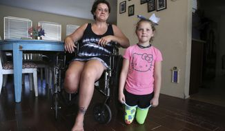 In a May 8, 2018 photo, Nicole Del Corpo-Nugent, 37, left, and her daughter Ireland Nugent, 7, of Palm Harbor, visit at their home moments after Ireland arrived home from attending classes at Sutherland Elementary School, where she is in second grade. Ireland lost both her lower legs in a riding lawn mower accident five years ago. Ireland has inspired Nicole after she endured her own amputation last year due to osteomyelitis - a rare and serious infection of the bone. (Douglas R. Clifford/The Tampa Bay Times via AP)