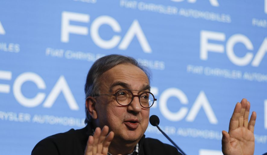 Fiat Chrysler CEO Sergio Marchionne speaks during a press conference at the end of the 'Capital Markets Day' at the FCA headquarter, in Balocco, Italy, Friday, June 1, 2018. In his last big presentation as CEO of Fiat Chrysler before retiring, Sergio Marchionne announced a big investment push to make more electrified cars, while acknowledging that traditional engines will continue to dominate production for some time. (AP Photo/Luca Bruno)