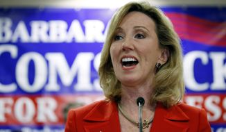 FILE - In this Nov. 4, 2014 file photo Rep. Barbara Comstock, R-Va. speaks in Ashburn, Va. The scramble among Democrats to take on Comstock for a Virginia congressional seat has remained civil so far. Six Democrats are on the ballot for the 10th Congressional District primary. (AP Photo/Alex Brandon, File)