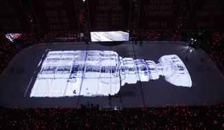 A picture of the Stanley Cup is projected on the ice before Game 3 of the NHL hockey Stanley Cup Final between the Washington Capitals and the Vegas Golden Knights, Saturday, June 2, 2018, in Washington. (AP Photo/Alex Brandon) ** FILE **