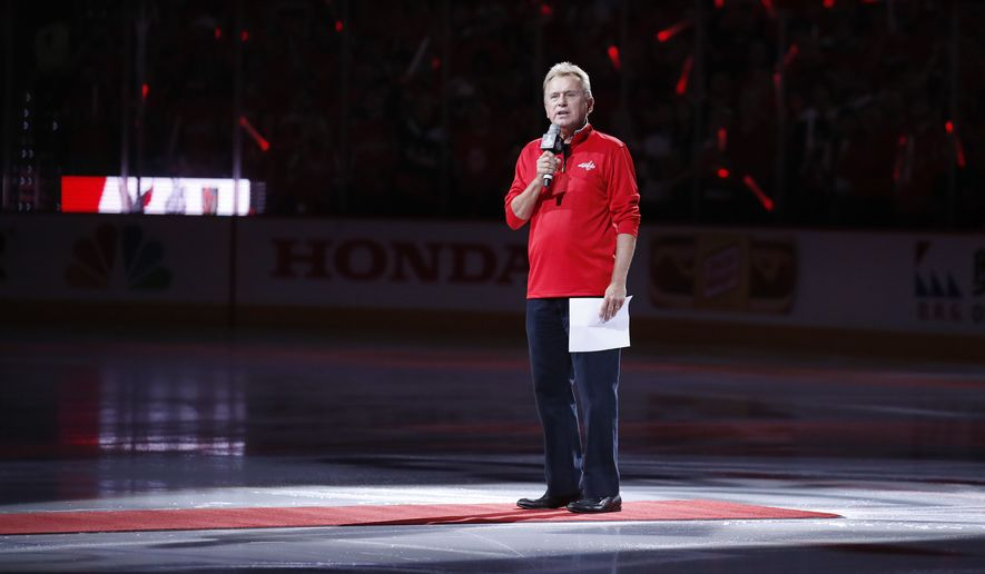 Entertainer Pat Sajak, a Washington Capitals season ticket holder, introduces the players for the Capitals and the Vegas Golden Knights before Game 3 of the NHL hockey Stanley Cup Final, Saturday, June 2, 2018, in Washington. (AP Photo/Alex Brandon)