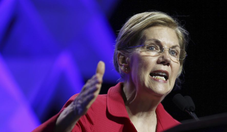 U.S. Senator Elizabeth Warren speaks at the 2018 Massachusetts Democratic Party Convention, Friday, June 1, 2018, in Worcester, Mass. (AP Photo/Elise Amendola) ** FILE **