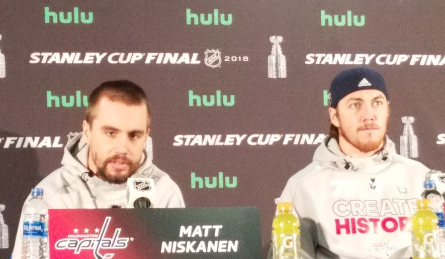 Matt Niskanen (left) and T.J. Oshie of the Washington Capitals speak to the media at Kettler Capitals Iceplex in Arlington, Va., on Sunday, June 3, 2018, one day after they won Game 3 of the Stanley Cup Final over the Vegas Golden Knights. (Photo by Adam Zielonka / Washington Times)