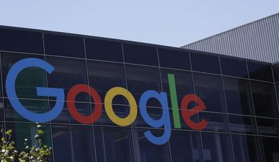 FILE - This Tuesday, July 19, 2016, file photo shows the Google logo at the company's headquarters in Mountain View, Calif. Google parent Alphabet Inc. reports earnings Thursday, Oct. 26, 2017. (AP Photo/Marcio Jose Sanchez, File)