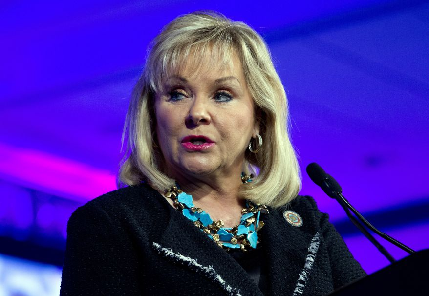Oklahoma Gov. Mary Fallin speaks during the panel Caring for our Veterans at the National Governor Association 2018 winter meeting, on Sunday, Feb. 25, 2018, in Washington. (AP Photo/Jose Luis Magana)