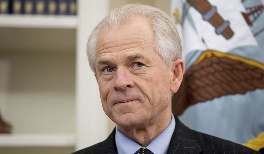In this March 31, 2017, file photo, National Trade Council adviser Peter Navarro appears before President Donald Trump arrives to sign executive orders regarding trade in the Oval Office at the White House in Washington. (AP Photo/Andrew Harnik) ** FILE **