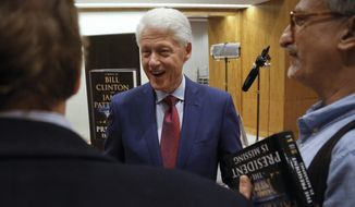 "In this Monday, May 21, 2018, photo, former President Bill Clinton leaves after an interview about his new novel with James Patterson, ""The President is Missing,"" in New York. (AP Photo/Bebeto Matthews)"