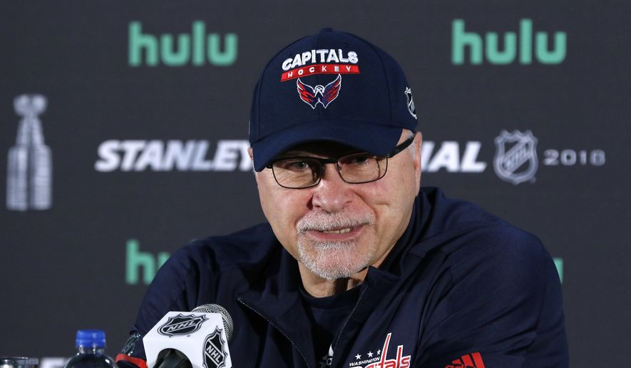 Washington Capitals head coach Barry Trotz speaks to the media, Sunday, June 3, 2018, at the Kettler Capitals Iceplex in Arlington, Va. The Capitals will host the Vegas Golden Knights in Game 4 of the NHL hockey Stanley Cup Final Monday night in Washington. (AP Photo/Bill Sikes) ** FILE **