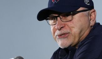 Washington Capitals head coach Barry Trotz speaks to the media, Sunday, June 3, 2018, at the Kettler Capitals Iceplex in Arlington, Va. The Capitals will host the Vegas Golden Knights in Game 4 of the NHL hockey Stanley Cup Final Monday night in Washington. (AP Photo/Bill Sikes)