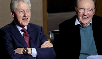 """In this Monday, May 21, 2018, photo, former President Bill Clinton, left, and author James Patterson speak during an interview about their new novel, """"The President is Missing,"""" in New York. (AP Photo/Bebeto Matthews)"""