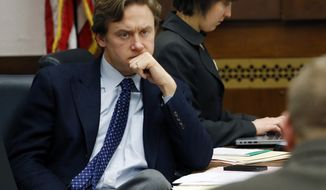 """FILE--In this Jan. 15, 2014, file photo, Colorado state Democratic Senator Mike Johnston listens to testimony during a committee hearing at the Capitol, in Denver. Education is a subterranean divide between Democrats running for governor in two states this year. In California, supporters of charter schools and other """"reform"""" initiatives have given more than $20 million to former Los Angeles mayor Antonio Villaraigosa's bid, while in Colorado Democrats are similarly divided between a more traditional candidate backed by teachers unions and two others who've pushed school innovations. But the split has been overwhelmed by other red-meat Democratic issues like guns and Trump. (AP Photo/Brennan Linsley, File)"""