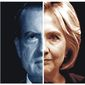 Illustration on the similarities between Watergate and Hillary Clinton's actions surrounding the 2016 election campaign by Alexander Hunter/The Washington Times