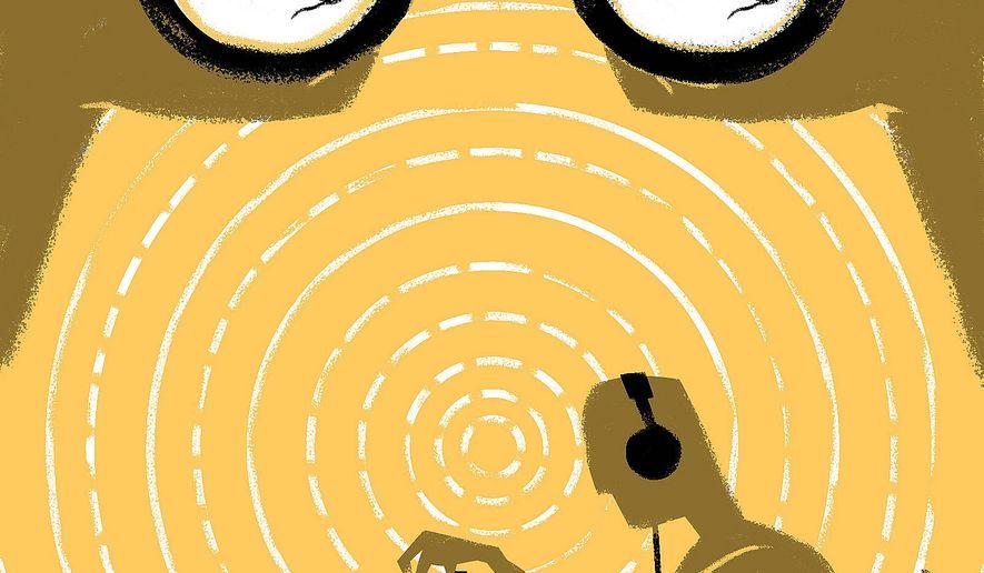 Illustration on politicized intelligence by Linas Garsys/The Washington Times