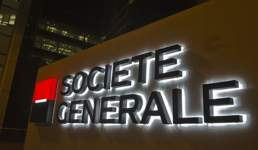 The logo of the Societe General bank is pictured at the business district La Defense, in Paris Wednesday, Oct. 12, 2016. (AP Photo/Michel Euler)