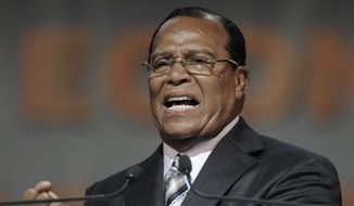 Minister Louis Farrakhan speaks during the Saviours' Day annual convention at the U.I.C. Pavilion in Chicago, Sunday, Feb. 24, 2013. (AP Photo/Paul Beaty) ** FILE **
