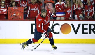 Washington Capitals forward Alex Ovechkin, of Russia, warms up before Game 4 of the NHL hockey Stanley Cup Final against the Vegas Golden Knights, Monday, June 4, 2018, in Washington. (AP Photo/Alex Brandon) ** FILE **