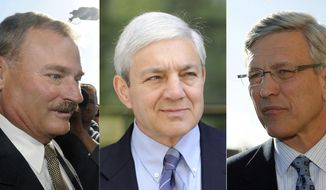 FILE – This file photo combination shows former Penn State vice president Gary Schultz, left, former Penn State athletic director Tim Curley, right, and former Penn State President Graham Spanier, center, in Harrisburg, Pa. A Pennsylvania appeals court says many of the documents sealed in the criminal case against former Penn State administrators for their handling of child sex abuse complaints about football coach Jerry Sandusky should be made public. A three-judge Superior Court panel on Monday, June 4, 2018, sided with The Associated Press and ordered the release from the more than 200 records sealed in the case against Schultz, Curley and Spanier. (AP Photos/File)