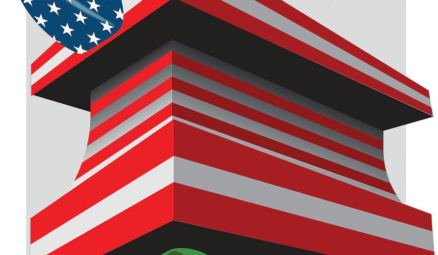 Illustration on pressuring North Korea and Iran by Linas Garsys/The Washington Times