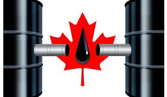 Illustration on Canadian oil infrastructure by Alexander Hunter/The Washington Times