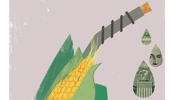 Illustration on ethanol legislation by Linas Garsys/The Washington Times