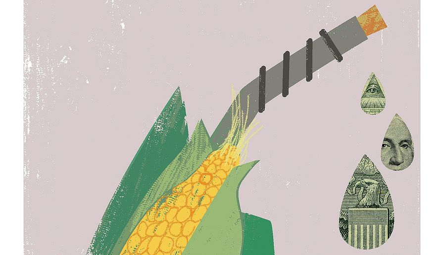 Illustration on ethanol legislation by Linas Garsys/The Washington Times