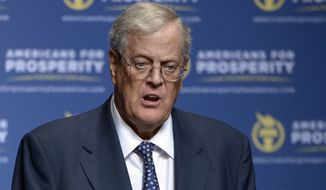 FILE - In this Aug. 30, 2013 file photo, David Koch speaks in Orlando, Fla. The Koch brothers and their chief lieutenants are warning of a rapidly shrinking window to push their agenda through Congress. No agenda items matter more to the conservative Koch network than the GOPs promise to overhaul the nations tax code and repeal and replace President Barack Obamas health care law.  (AP Photo/Phelan M. Ebenhack, File)