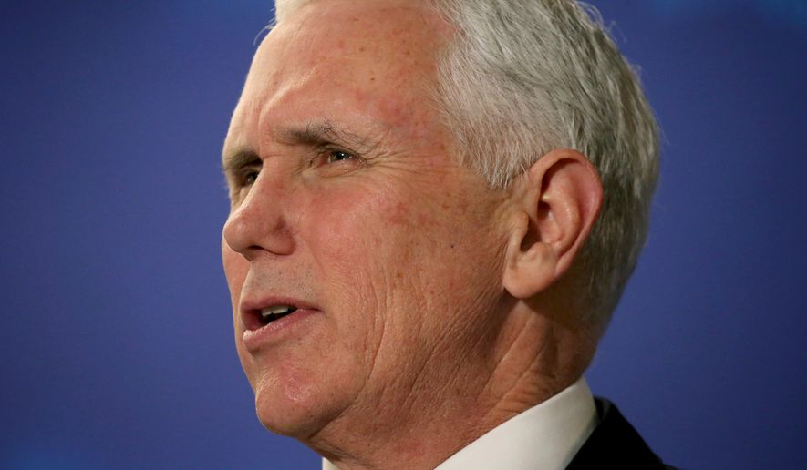 "FILE - In this March 22, 2018 file photo, Vice President Mike Pence speaks at the America First Policies, ""Tax Cuts to Put America First"" event in Manchester, N.H. Pence is postponing a planned trip to Brazil this month as President Donald Trump prepares for a historic meeting with North Korean leader Kim Jong Un. (AP Photo/Mary Schwalm)"