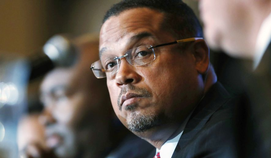 In this Dec. 2, 2016, file photo, U.S. Rep. Keith Ellison, D-Minn., listens during a forum on the future of the Democratic Party, in Denver. (AP Photo/David Zalubowski, File)